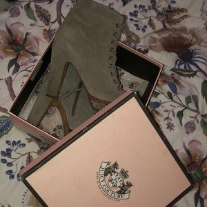 Juicy couture suede + leather tie up booties